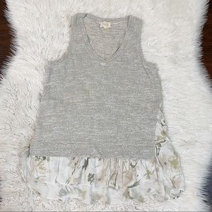 Anthro Deletta Gray Knot Sleeveless Top Floral